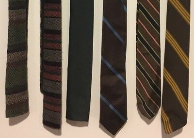 Lot Of 9 Vintage 50s 60s 70s Skinny Neckties! Woven Polyester Wool Retro Fashion