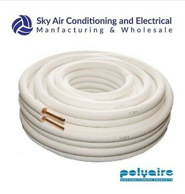 Air Conditioner Twin Pair Coil Tube 1/4 3/8 Insulated Copper Pipe 20m metre R410