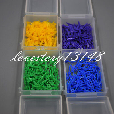 100 Pcs 4 Sizes Dental Plastic Poly-Wedges with Holes Round Stern 4 Colors
