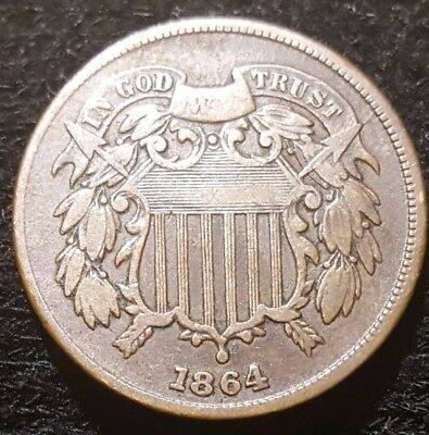 1864-P Two Cent Piece, Large Motto #1