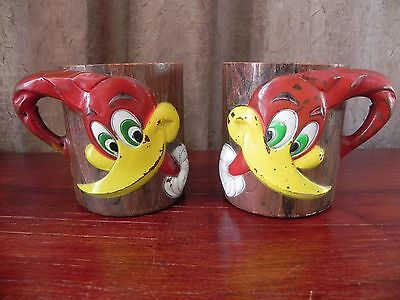 Vintage Woody Woodpecker Cartoon Plastic Mug Cup F&F Mold & Die Works Inc USA