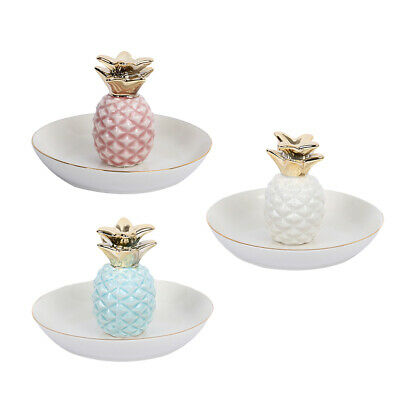Ceramic Pineapple Tray Ring Necklace Trinkets Jewelry Holder Room Decor Dish