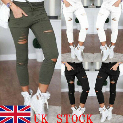 Women Ladies High Waisted Skinny Ripped Denim Pants Slim Pencil Jeans Trousers