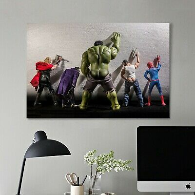 Framed Canvas Prints Stretched Avengers Marvel Hero Wall Art Home Decor Gift