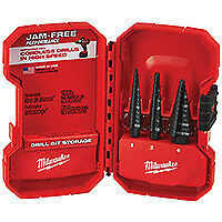 Milwaukee 48-89-9221 Dual-Flute Step Drill Bit Set, 3 Pieces, 1/8 - 7/8 in