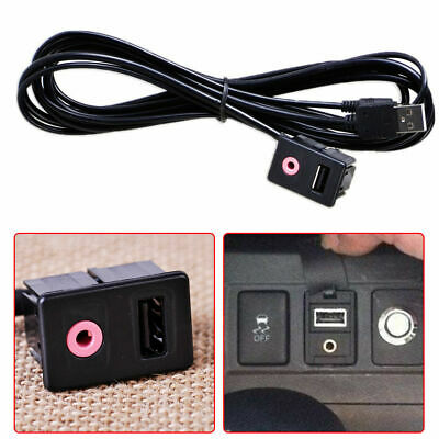 Car Dashboard Panel Audio Flush Mount  Adapter Cable USB 3.5mm AUX Male Mounting
