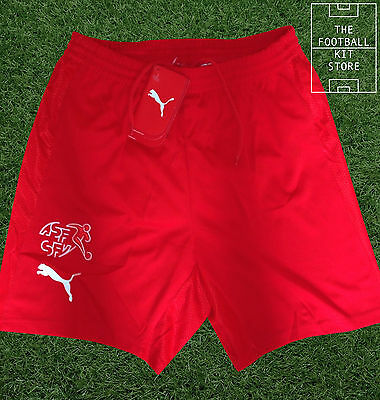 Switzerland Home Shorts - Official Puma Swiss Football Shorts - Mens Small