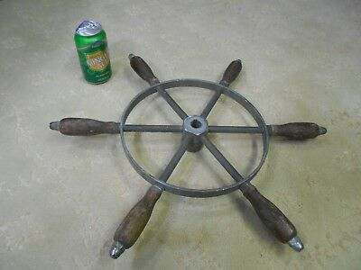 """Vintage or  Antique Wood and Bronze Ships Wheel - Boat Nautical  - 20"""" -"""