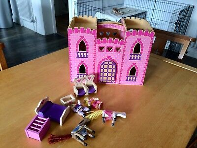 Melissa And Doug Pink Wooden Folding Castle And Toys 8 00