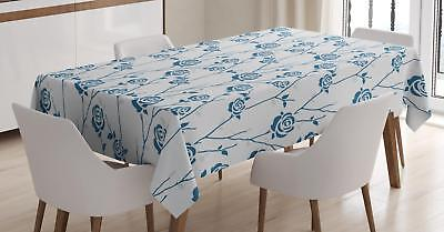 Blue Floral Tablecloth Ambesonne 3 Sizes Rectangular Table Cover Home Decor
