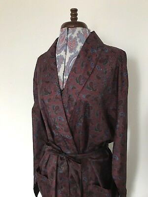 Dapper Vintage Mens Silky Paisley Robe / Smoking Jacket by Tootal