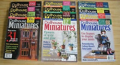 Lot of 12 Vintage Dollhouse Miniatures Magazines Full Year for 2001
