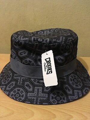 c37a211d39d74 Crooks   Castles Cement Mens Woven Reversible Bucket Hat Size L XL NWT  Authentic
