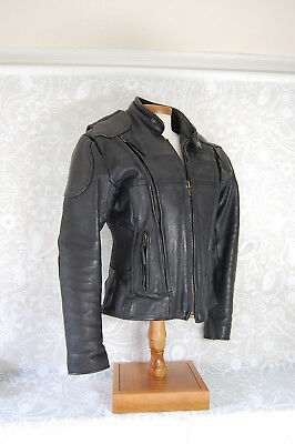 Womens Black Leather Motorcycle Bike Small Jacket Fitted Heavy Duty Soft Armored