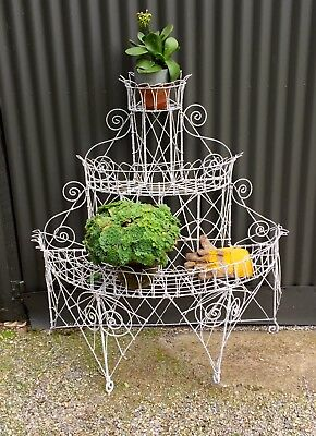 LARGE 3 TIER ANTIQUE VICTORIAN WIRE PLANT STAND - 1800s
