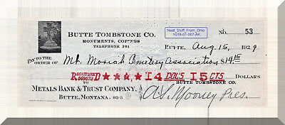 Butte Tombstone Company (Montana Mining Town) - Great Depression 1929 Check