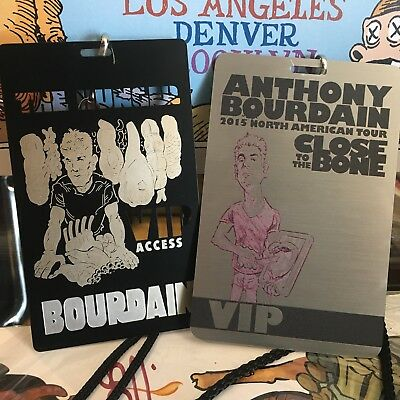 Anthony Bourdain CLOSE TO THE BONE And THE HUNGER VIP Back Stage Metal Passes