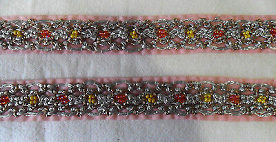 Vintage Pink Orange, Yellow Beaded TRIMMINGS Silver Braided Thread, India,1 Yard