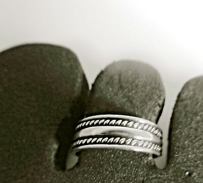 925 STERLING SILVER ADJUSTABLE TOE RING SOLID BAND womens midi beach surf NEW