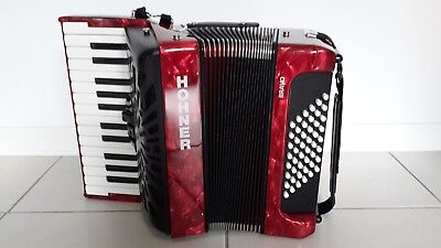 Hohner Accordion BRAVO II 48 Red Pearl