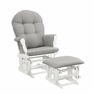 Windsor Glider and Ottoman, White with Gray Cushion, Generous seating room