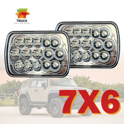 "Pair 7x6""Inch LED Headlights High/low Beam Replace H6054 6000K 45W FOR Pickup"