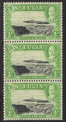 ST.LUCIA SG113a 1936 ½d BLACK & BRIGHT GREEN p13x12 MNH VERTICAL COIL STRIP OF 3
