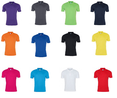 AWDis Men Cool Lightweight Smooth Polyester Polo Shirt Short Sleeves Workout Top