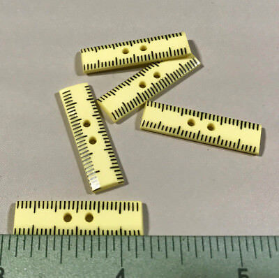 "Yellow Ruler Button ~ 2-Hole ~ Set Of 5 ~ 1 1/8"" Size"