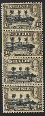 ST.LUCIA SG114a 1936 1d MNH VERTICAL COIL STRIP OF 4 WITH COIL JOIN