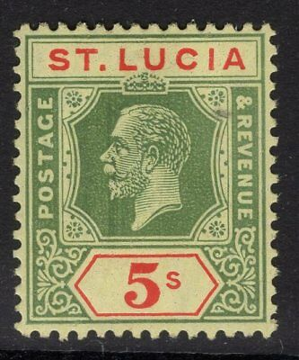 St.lucia Sg105 1923 5/- Green & Red/pale Yellow Mnh