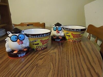 2 Mr OWL TOOTSIE ROLL POP ceramic candy dishes 2005