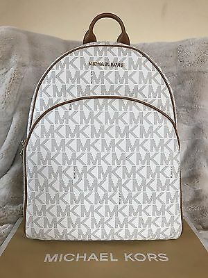 a64571d14b61 Nwt Michael Michael Kors Signature Pvc Abbey Large Backpack Bag In Vanilla /acorn