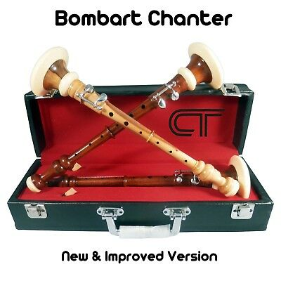 Scottish Rosewood & Cocus Wood Bombard Chanter with Leather Carry Case & Reeds