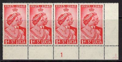 ST.LUCIA SG144 1948 1d SILVER WEDDING PLATE 1 MNH STRIP OF 4