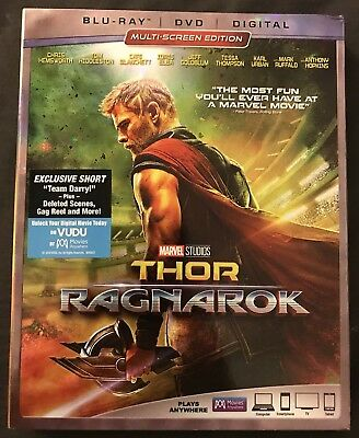 Marvel's Thor Ragnarok Blu Ray + Dvd 2 Disc Set With Slipcover Chris Hemsworth