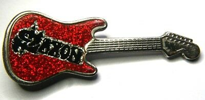 SAXON Old OG Vtg 1980`s Guitar Shaped Metal Pin Badge NWOBHM(NOT patch shirt lp)