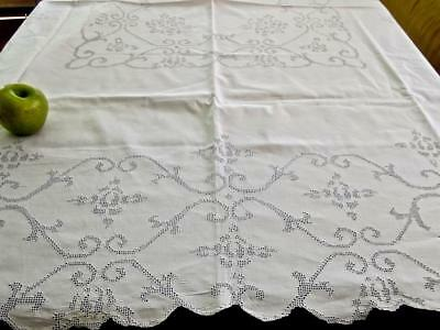 Antique Italian White Linen 57x66 Tablecloth Mosaic Punchwork Lace Roses Scrolls