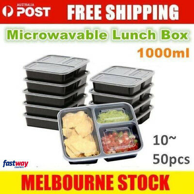 10/20/50 Take away Plastic Food Containers Meal Prep Microwavable Lunch Box