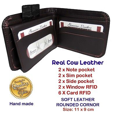 Mens Real Genuine COW Soft Leather Wallet, Exclusive & Simple Rounded Design