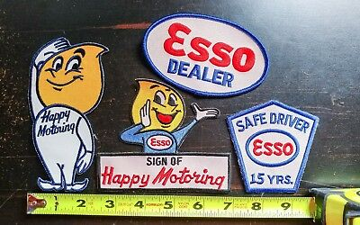 Esso Sign of Happy Motoring Embroidered Patch Lot (4)