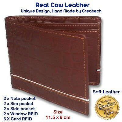 Exclusive Design Men's Real Genuine COW Soft Leather Wallet, RFID Block Material