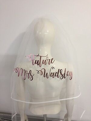 Personalised Veil Rose Gold Metallic  Hen Party Bride Print Future  Mrs 👰