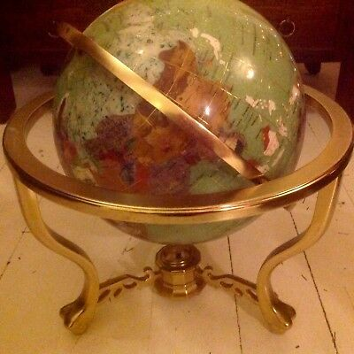 "Large 13"" Ivory Gemstone Globe Semi Precious Stones On Brass Stand With Compass"