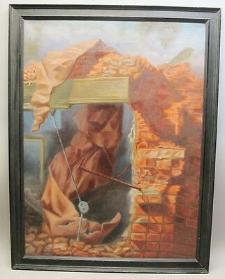 "Large Original Surrealist Oil Painting HENRY BILLINGS  ""Demolition""  dated 1963"