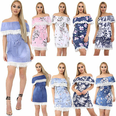Womens Italian Denim Off Shoulder Ladies Crochet Lace Frill Printed Bardot Dress