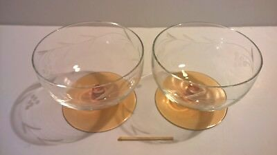Nice pair of vintage mid century etched sherry liqueur glasses golden base 9cm