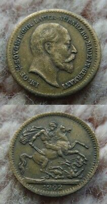UK Great Britain Germany 1902 Small Token Edward VII 13mm