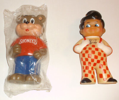 Vintage 1970's Shoney's Big Boy & 1990's Shoney's Bear Coin Bank Nip Nice
