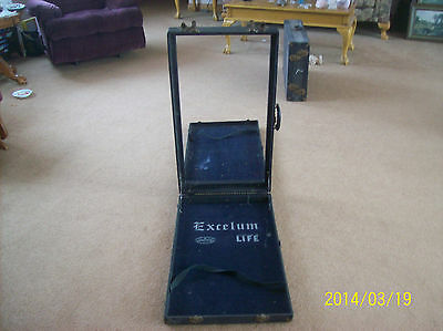 "Saleman's Case Vintage ""EXCELUM"" 1950's Rare Wooden Frame Suitcase Display"